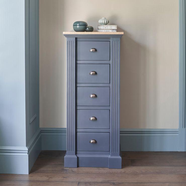 Highgate Rustic Oak and Blue Painted Hardwood Tallboy
