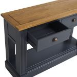 Highgate Rustic Oak and Blue Painted Hardwood Console Table - Thumbnail 5