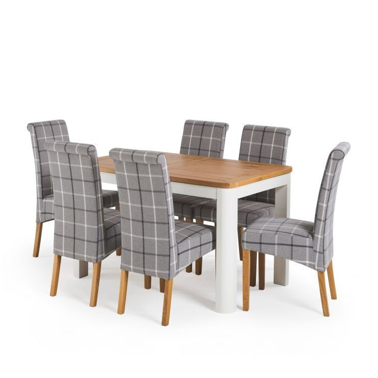 "Hove 4ft 3"" White Extendable Dining Table and 6 Scroll Back Chairs - Grey"