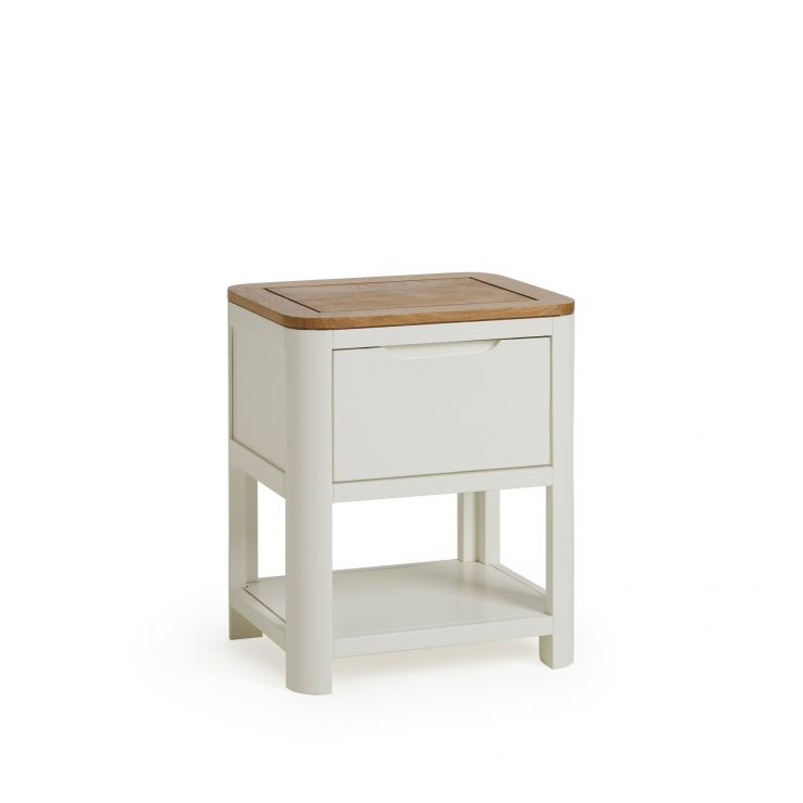 Hove Natural Oak and Painted 1 Drawer Bedside Table