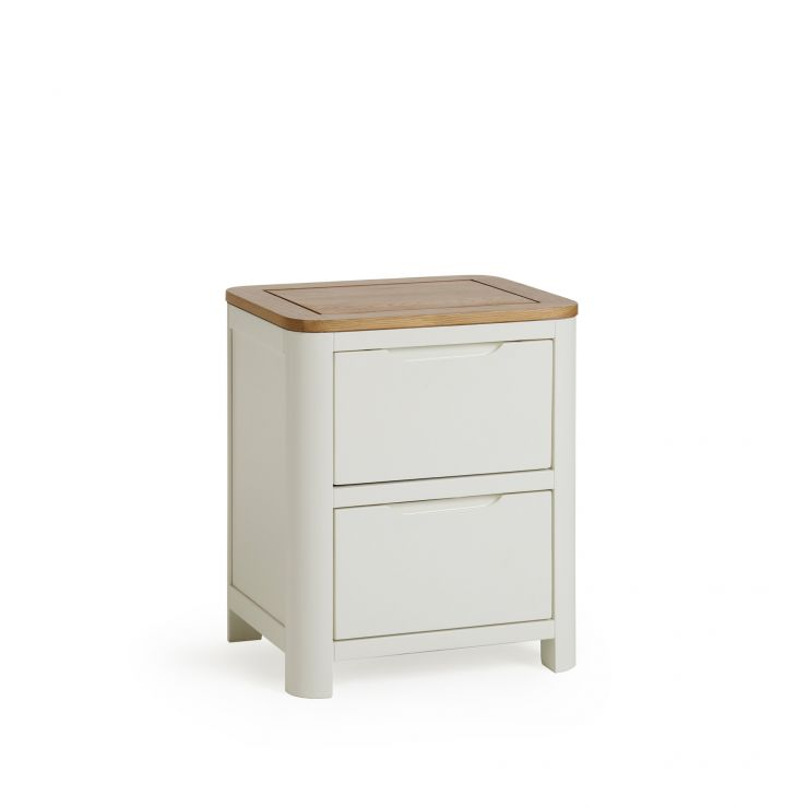 Hove Natural Oak and Painted 2 Drawer Bedside Table