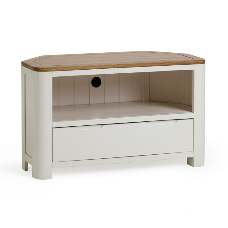 Hove Natural Oak and Painted Corner TV Unit - Image 1