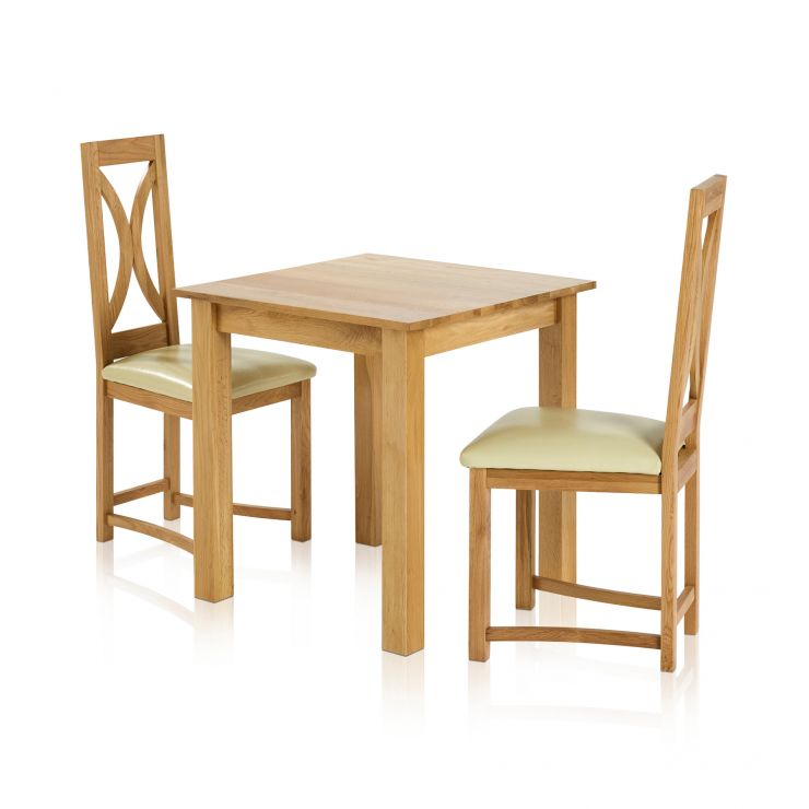 "Hudson Natural Solid Oak Dining Set - 2ft 6"" Table with 2 Loop Back Natural Solid Oak Dining Chairs"