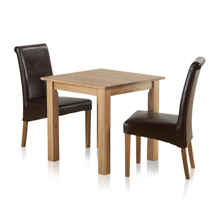 """Hudson Natural Solid Oak Dining Set - 2ft 6"""" Table with 2 Scroll Back Brown Leather Chairs - Image 6"""