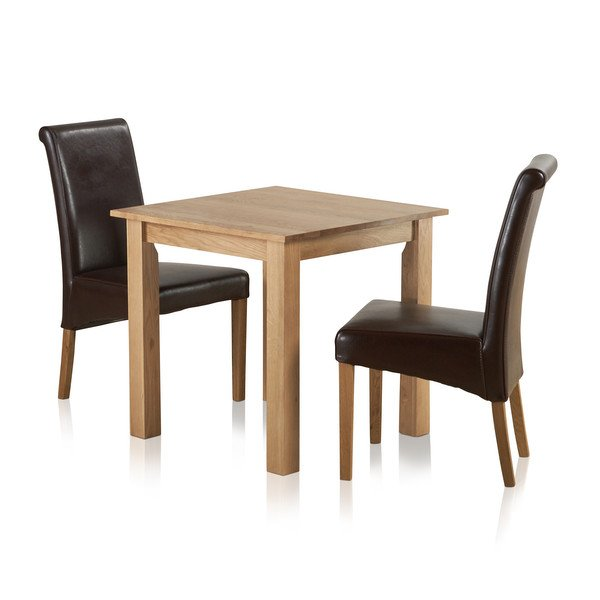 """Hudson Natural Solid Oak Dining Set - 2ft 6"""" Table with 2 Scroll Back Brown Leather Chairs"""