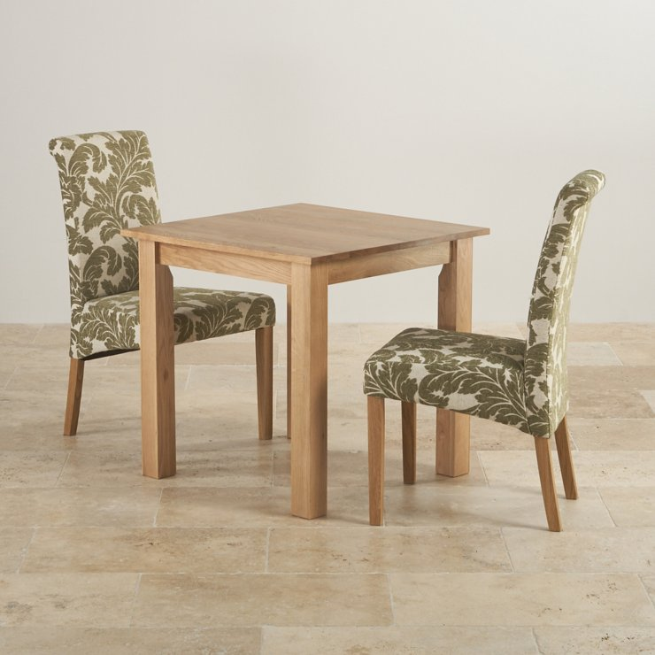 """Hudson Natural Solid Oak Dining Set - 2ft 6"""" Table with 2 Scroll Back Patterned Beige Fabric Chairs"""