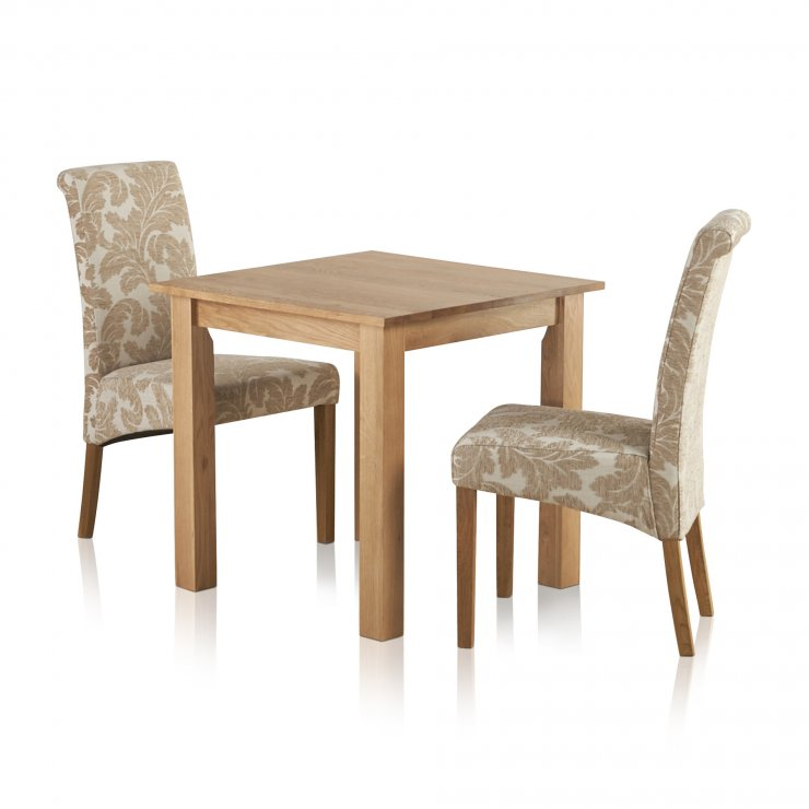 """Hudson Natural Solid Oak Dining Set - 2ft 6"""" Table with 2 Scroll Back Patterned Beige Fabric Chairs - Image 5"""