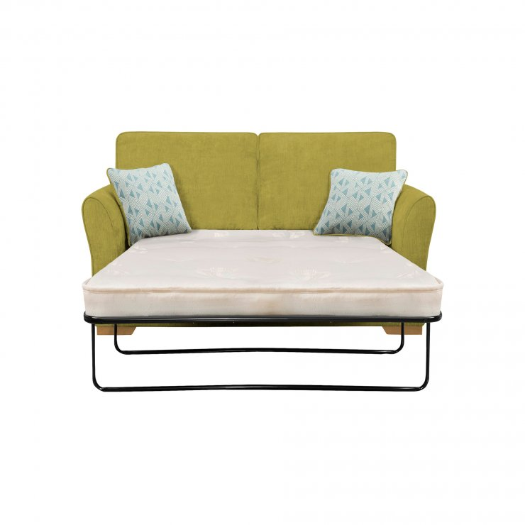 Jasmine 2 Seater Sofa Bed with Deluxe Mattress in Cosmo Apple with Bamboo Aqua Scatters - Image 1