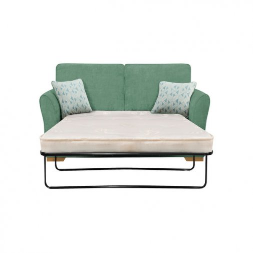 Jasmine 2 Seater Sofa Bed with Deluxe Mattress in Cosmo Jade with Bamboo Aqua Scatters