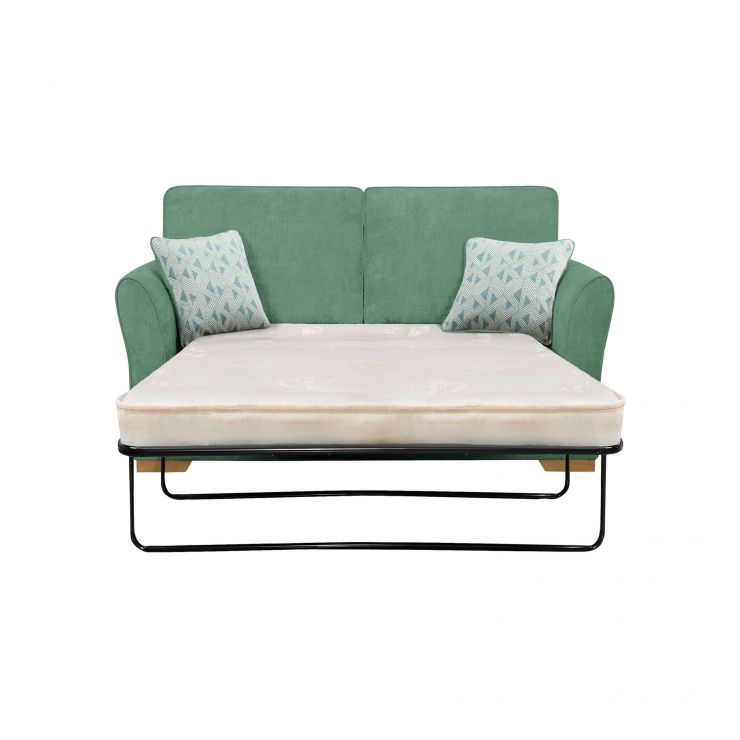 Jasmine 2 Seater Sofa Bed with Deluxe Mattress in Cosmo Jade with Bamboo Aqua Scatters - Image 1