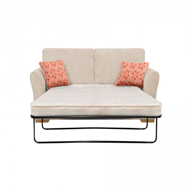 Jasmine 2 Seater Sofa Bed with Deluxe Mattress in Cosmo Linen with Bamboo Spice Scatters
