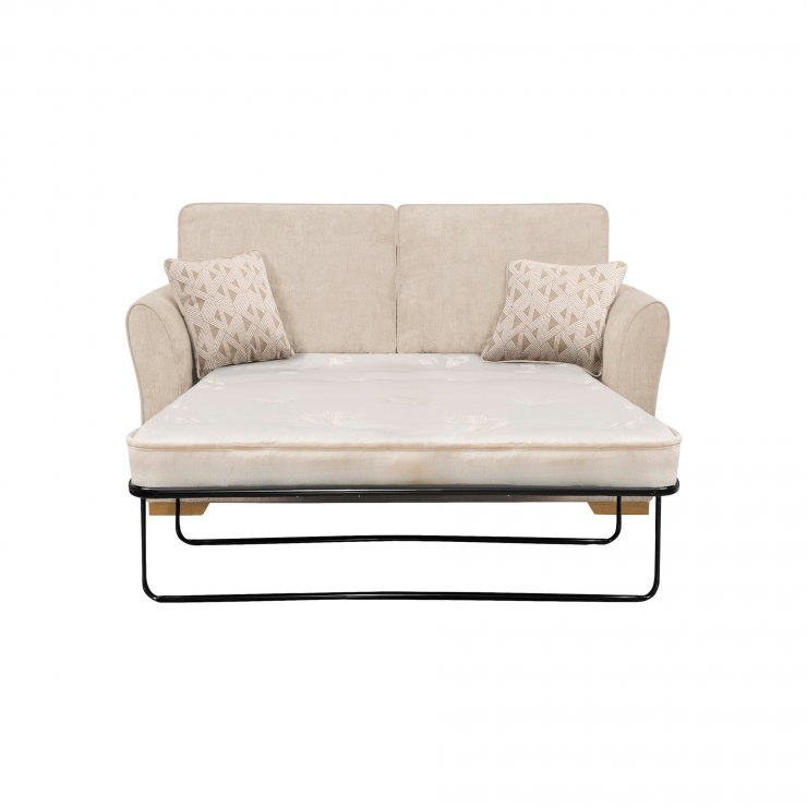 Jasmine 2 Seater Sofa Bed with Deluxe Mattress in Cosmo Linen with Bamboo Taupe Scatters