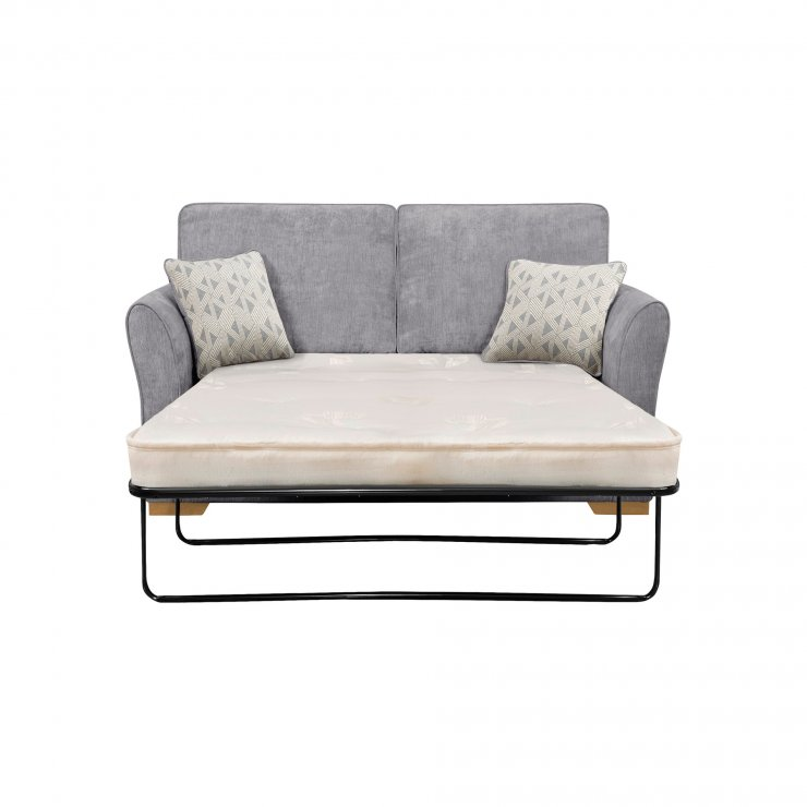 Jasmine 2 Seater Sofa Bed with Deluxe Mattress in Cosmo Pewter with Bamboo Slate Scatters - Image 2