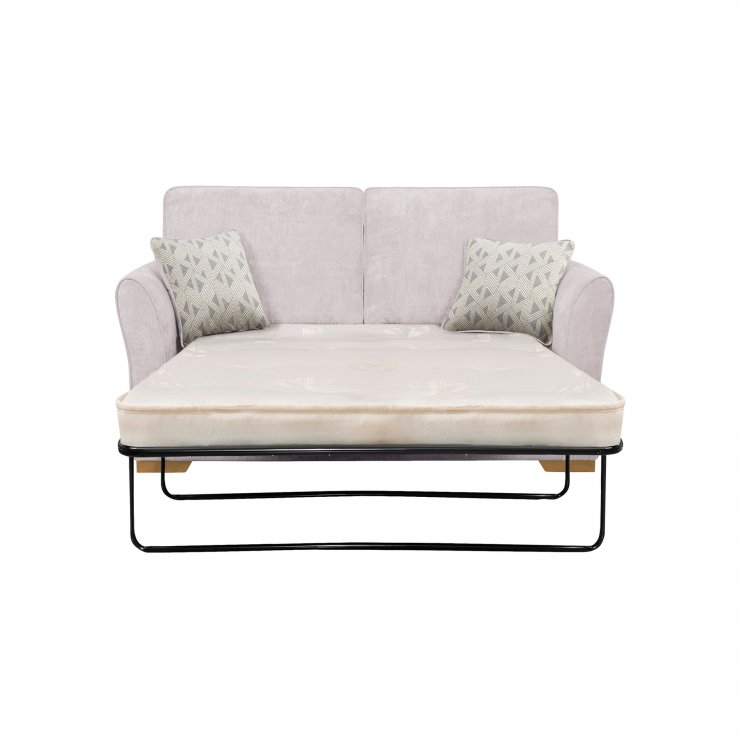 Jasmine 2 Seater Sofa Bed with Deluxe Mattress in Cosmo Silver with Bamboo Slate Scatters - Image 2
