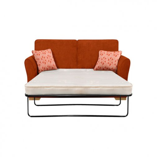 Jasmine 2 Seater Sofa Bed with Deluxe Mattress in Cosmo Spice with Bamboo Spice Scatters