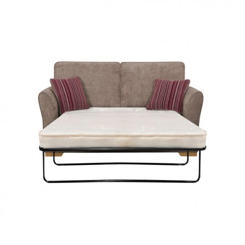 Jasmine 2 Seater Sofa Bed with Deluxe Mattress in Grey with Salsa Raspberry Scatters