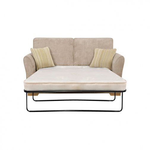 Jasmine 2 Seater Sofa Bed with Deluxe Mattress in Linen with Salsa Summer Scatters
