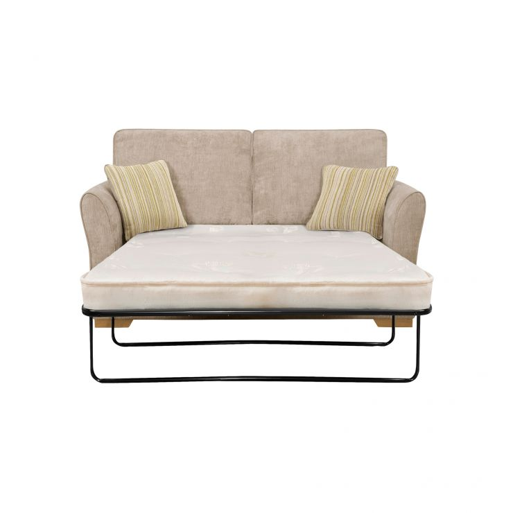Jasmine 2 Seater Sofa Bed with Deluxe Mattress in Linen with Salsa Summer Scatters - Image 2