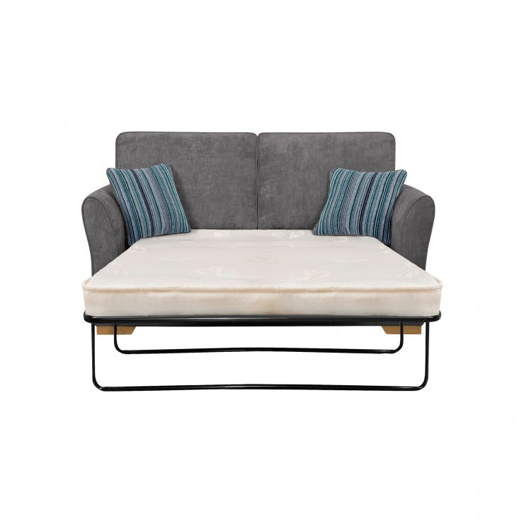 Jasmine 2 Seater Sofa Bed with Deluxe Mattress in Pewter with Salsa Ocean Scatters