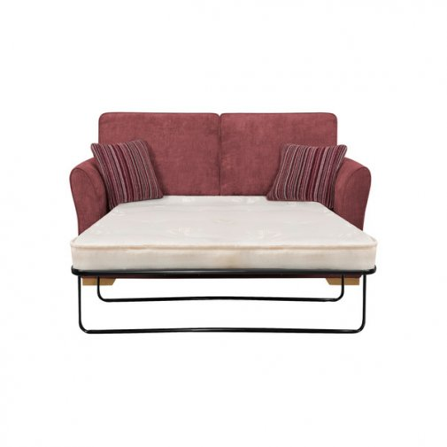 Jasmine 2 Seater Sofa Bed with Deluxe Mattress in Plum with Raspberry Scatters