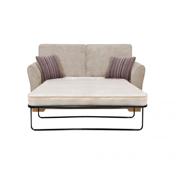 Jasmine 2 Seater Sofa Bed with Deluxe Mattress in Silver with Salsa Taupe Scatters