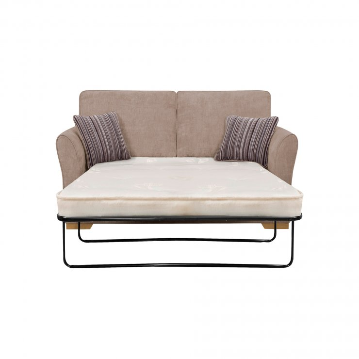 Jasmine 2 Seater Sofa Bed with Deluxe Mattress in Taupe with Salsa Taupe Scatters
