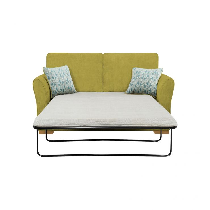 Jasmine 2 Seater Sofa Bed with Standard Mattress in Cosmo Apple with Bamboo Aqua Scatters