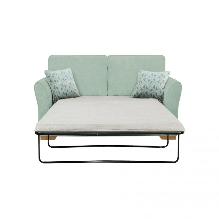 Jasmine 2 Seater Sofa Bed with Standard Mattress in Cosmo Duck Egg with Bamboo Aqua Scatters - Image 1