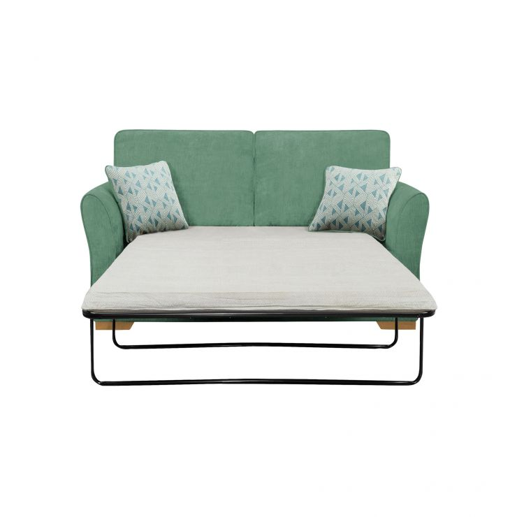 Jasmine 2 Seater Sofa Bed with Standard Mattress in Cosmo Jade with Bamboo Aqua Scatters - Image 1