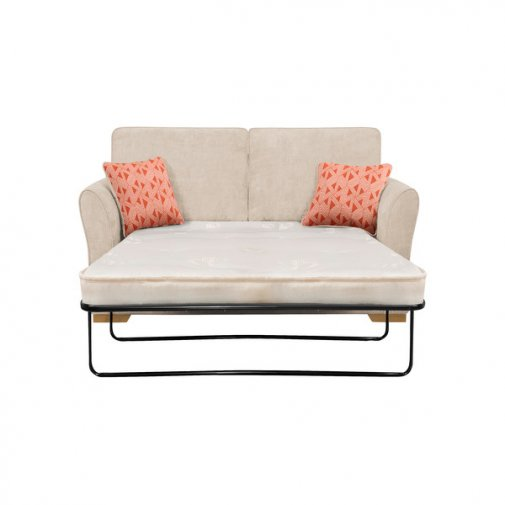 Jasmine 2 Seater Sofa Bed with Standard Mattress in Cosmo Linen with Bamboo Spice Scatters