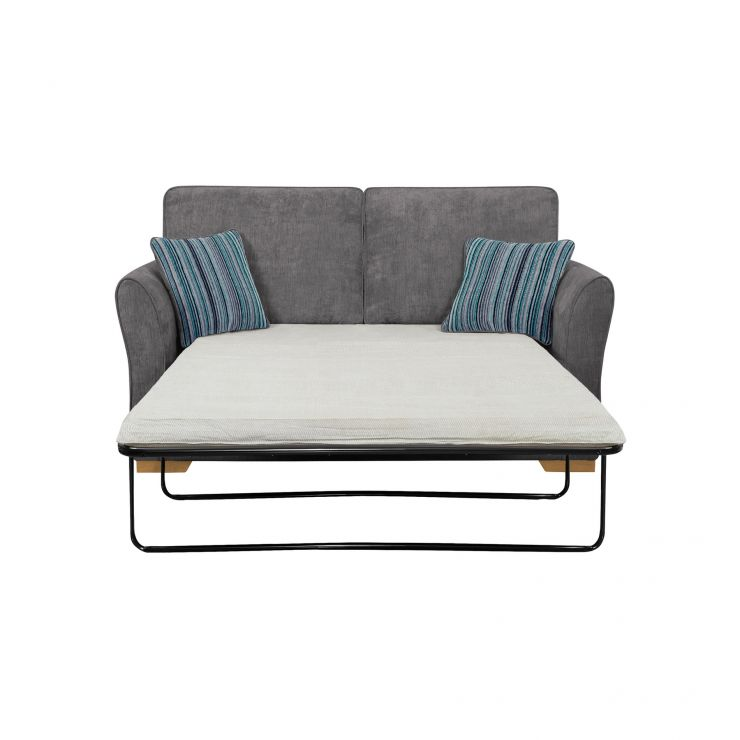 Jasmine 2 Seater Sofa Bed with Standard Mattress in Pewter with Salsa Ocean Scatters - Image 2
