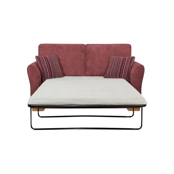 Jasmine 2 Seater Sofa Bed with Standard Mattress in Plum with Raspberry Scatters - Image 2