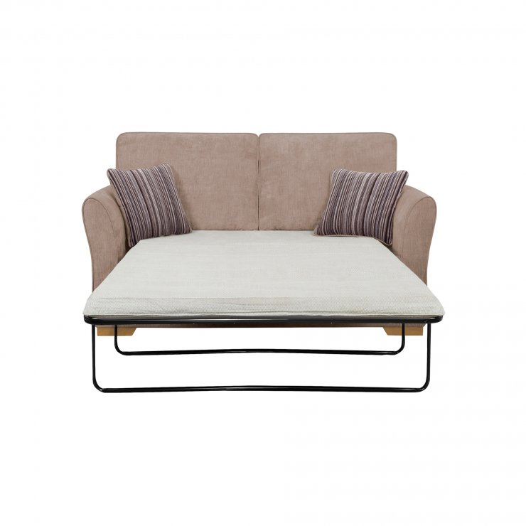 Jasmine 2 Seater Sofa Bed with Standard Mattress in Taupe with Salsa Taupe Scatters - Image 1
