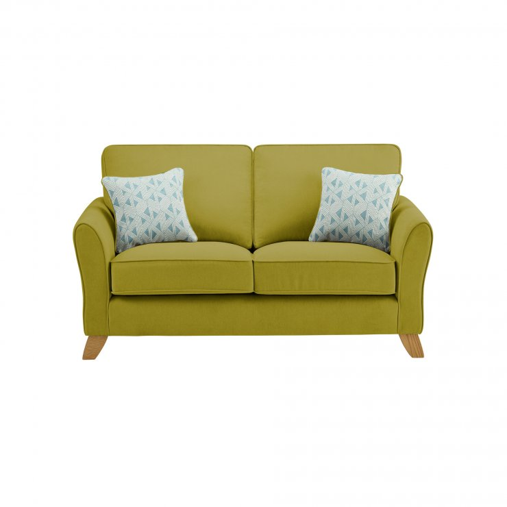 Jasmine 2 Seater Sofa in Cosmo Fabric - Apple with Bamboo Aqua Scatters - Image 1