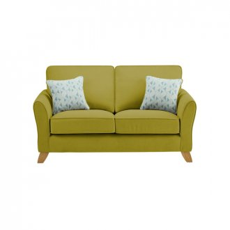 Jasmine 2 Seater Sofa in Cosmo Fabric - Apple with Bamboo Aqua Scatters