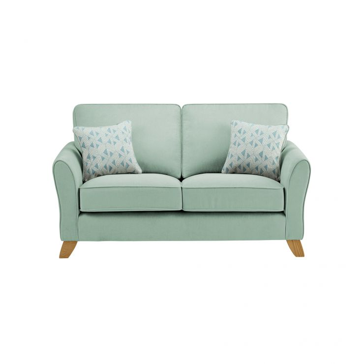 Jasmine 2 Seater Sofa in Cosmo Fabric - Duck Egg with Bamboo Aqua Scatters - Image 1