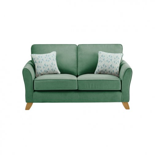 Jasmine 2 Seater Sofa in Cosmo Fabric - Jade with Bamboo Aqua Scatters