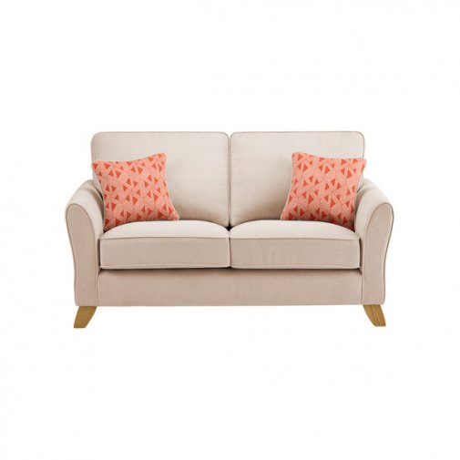 Jasmine 2 Seater Sofa in Cosmo Fabric - Linen with Bamboo Spice Scatters