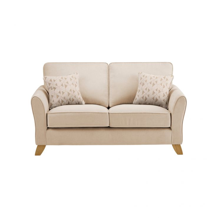 Jasmine 2 Seater Sofa in Cosmo Fabric - Linen with Bamboo Taupe Scatters