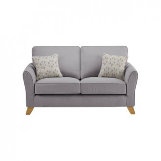 Jasmine 2 Seater Sofa in Cosmo Fabric - Pewter with Bamboo Slate Scatters