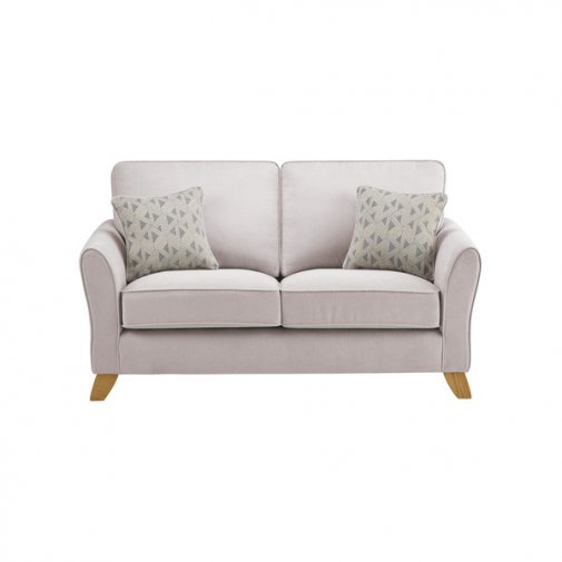 Jasmine 2 Seater Sofa in Cosmo Fabric - Silver with Bamboo Slate Scatters