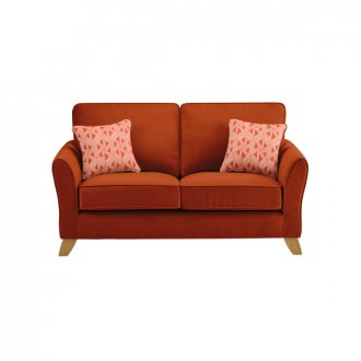 Jasmine 2 Seater Sofa in Cosmo Fabric - Spice with Bamboo Spice Scatters