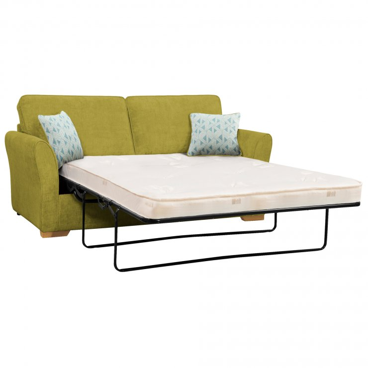 Jasmine 3 Seater Sofa Bed with Deluxe Mattress in Cosmo Apple with Bamboo Aqua Scatters - Image 1