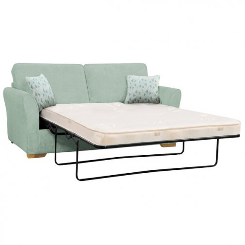 Jasmine 3 Seater Sofa Bed with Deluxe Mattress in Cosmo Duck Egg with Bamboo Aqua Scatters