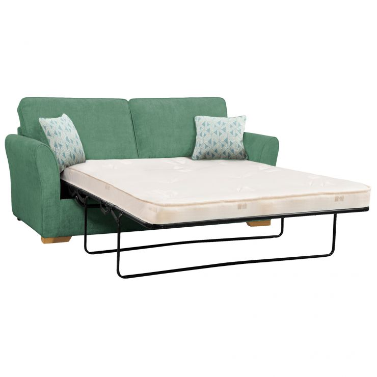 Jasmine 3 Seater Sofa Bed with Deluxe Mattress in Cosmo Jade with Bamboo Aqua Scatters - Image 1