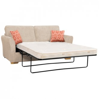 Jasmine 3 Seater Sofa Bed with Deluxe Mattress in Cosmo Linen with Bamboo Spice Scatters