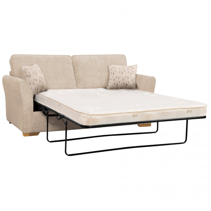 Jasmine 3 Seater Sofa Bed with Deluxe Mattress in Cosmo Linen with Bamboo Taupe Scatters