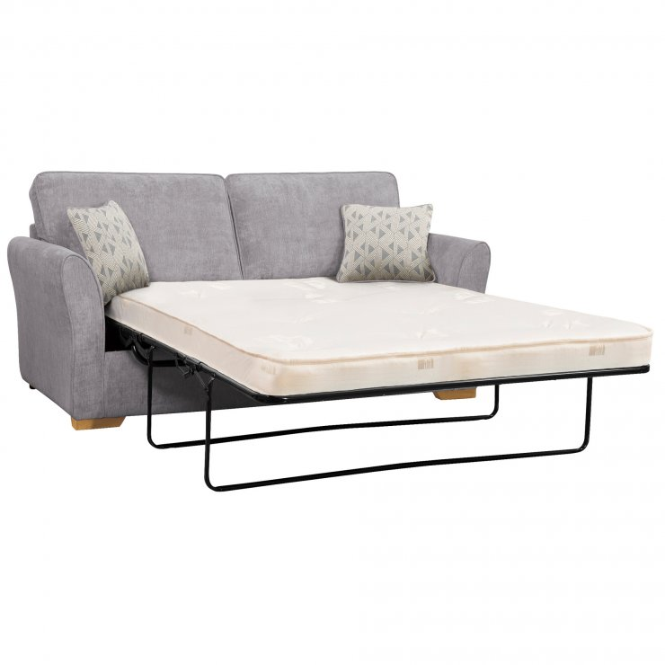 Jasmine 3 Seater Sofa Bed with Deluxe Mattress in Cosmo Pewter with Bamboo Slate Scatters - Image 2