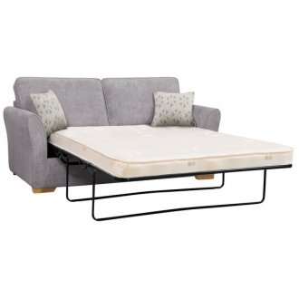 Jasmine 3 Seater Sofa Bed with Deluxe Mattress in Cosmo Pewter with Bamboo Slate Scatters