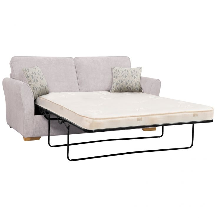 Jasmine 3 Seater Sofa Bed with Deluxe Mattress in Cosmo Silver with Bamboo Slate Scatters - Image 1